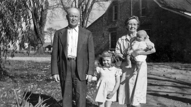 Guy and Mary Ann Killough Beattie, with their granddaughters Rosamund Patricia beattie and Linda Beattie. 1945.