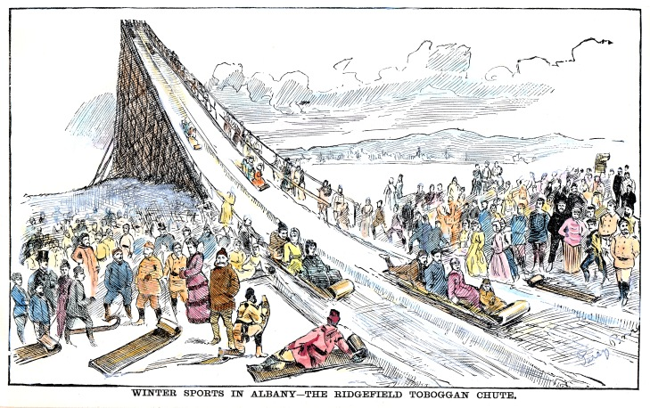 The Ridgefield Park Toboggan Run opened January 18, 1886. From an illustrated news publication that same year. Image from Pruyn Collection, Albany Public Library.